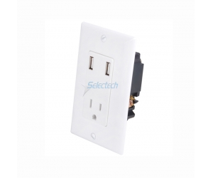 USB-32 DUAL USB wall charger with single 15A duplex outlet wall plate - White