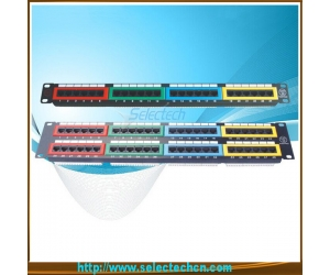 24 ports Cat.5e Cat6 Patch Panel with Identification Numbers and color label