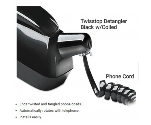 360 degree rotation telephone cord twisstop detangler w/coiled
