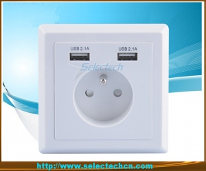 86 type Dual USB Wall plate Charger USB-19B