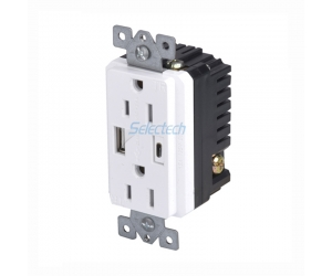 America Canada 125V 15A electrical Outlets with USB A and Type C Charging Embedded core, USB CHARGER
