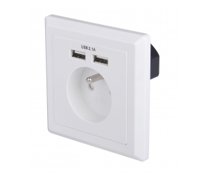 EU Schuko socket 80*80 type French socket Dual ports USB Wall plate Charger