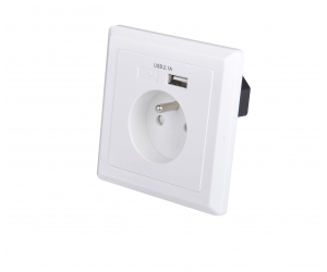 EU schuko socket 86 type French wall plate with 5V 2.1A USB wall charger
