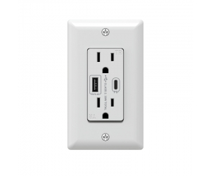 Fast charging Type-C PD charger wall outlets with USB 5V 2.4A