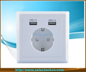 Allemagne Socket Dual USB Charger plaque murale USB-20B