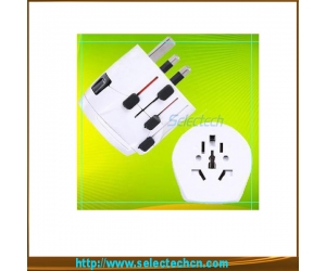 Multi-color swiss world travel adaptor plug with ground pin SE-MT009