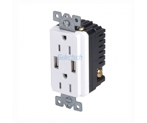 North America Outlets for USB Charging 125V 15A Hot Sell 2.1A 4.2A Dual USB wall Outlets Charger supplier Embedded core