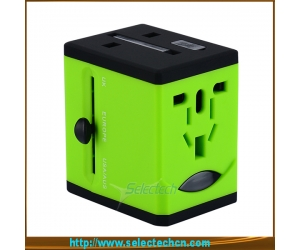 Popular travel adapter with 2 usb charger worldwide charger plug and socket ST-618
