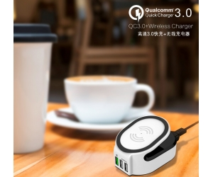 QC 3.0 Quick Charge Wireless Charger 3 in 1 with 50W power 2 port Smart Charger