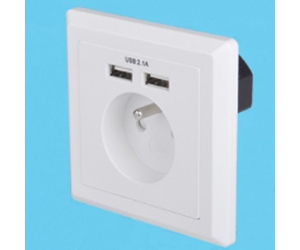 Schuko soket-outlets Eurojacks AC power plugs and sockets with Double USB sockets
