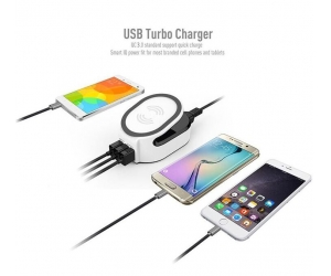 Smart 50W QI 3 in 1 wireless fast charger with QC 3.0 Quick USB Charger