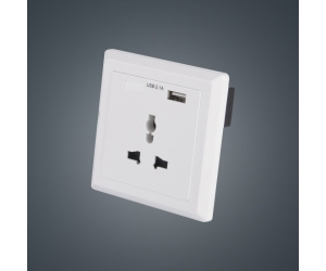 Square 86mm British faceplate  2.1A USB wall socket charger 3pin holes AC250V 16A