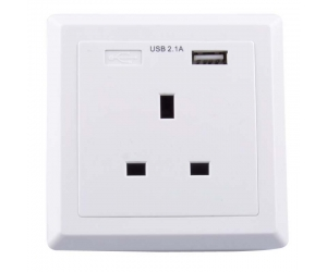 UK wall Socket faceplate charger 16A 240V British standard Wall in AC socket Outlets with Single port USB Socket Charging 5V 2.1A