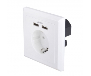 USB-18B EU Schuko socket 86 * 86 square German type Wall in AC socket with Dual ports USB Charger
