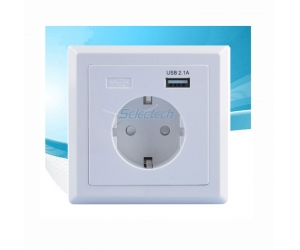 USB-20 Schuko socket 80*80 type German style socket Single port USB Wall plate Charger