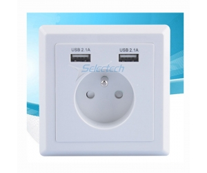USB-21B Schuko socket 80*80 type French socket Wall plate Dual ports USB Charger