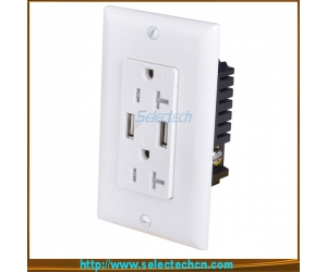 USB-30/31-A/A High Speed universal wall socket Dual USB Charger Outlet Receptacle USA electrical receptacle types with TR 15A
