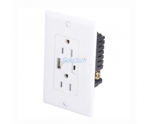 USB-30 universal wall panel USB A and Type C Charger receptacle with USA electrical outlet