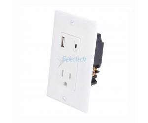 USB-32 Wall Plate USB Charger Type-A and Type-C Receptacle with TR 15A outlet,China smart USB Wall Charger supplier