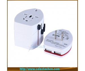 Worldwide usb travel adapter universal travel adapter With dual USB Charger 2.1A output SE-608-2.1A