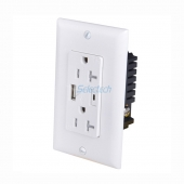 China USB charging socket 115*70mm USA Wall Plate USB Charger Type-A and Type-C Receptacle with 2 TR 20A outlet factory
