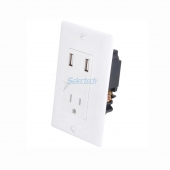 China USB-32 DUAL USB wall socket chargers with single 15A duplex outlets wall plate - White factory