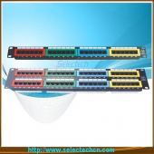 China 24 ports Cat.5e Cat6 Patch Panel with Identification Numbers and color label factory