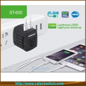 China Dual usb charger world travel adapter all-in-one universal travel adapter ST-630 factory