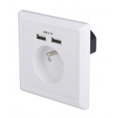 China EU Schuko socket 80*80 type French socket Dual ports USB Wall plate Charger factory
