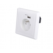 China EU schuko socket 86 type French wall plate with 5V 2.1A USB wall charger factory
