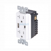 China Electrical USB charger wall outlets Type-A and Type-C Replaceable inner core with 20A TR Receptacle factory