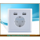 China Germany Socket Dual USB Wall plate Charger USB-20B factory