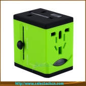 China Popular adaptador de viagem com 2 carregador USB Worldwide carregador plug e soquete St-618 fábrica