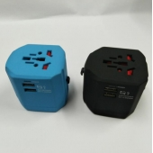 China Promotional gift 2500MA Dual USB Charger Universal World Travel Adapter China Supplier factory