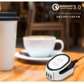 China QC 3.0 Quick Charge Wireless Charger 3 in 1 with 50W power 2 port Smart Charger factory