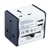 China Russia hot sale black white adapters world electrical plugs travel adapter with 2 USB chargers factory