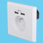 China Schuko soket-outlets Eurojacks AC power plugs and sockets with Double USB sockets factory