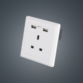 China The best  UK wall socket charger with dual USB Receptacle DC 5V 2.1A White or Black factory