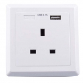 China UK wall Socket faceplate charger 16A 240V British standard Wall in AC socket Outlets with Single port USB Socket Charging 5V 2.1A factory