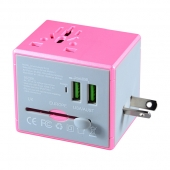 China USA Europe hot sale pink travel adapters electrical plugs adapter durable multi usb adapter factory