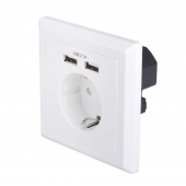 China USB-18B EU Schuko socket 86 * 86 square German type Wall in AC socket with Dual ports USB Charger factory