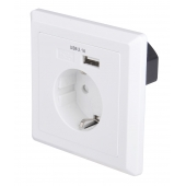 China USB-18 German style EU Schuko socket 86*86 type Single port USB Wall plate Charger factory
