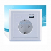 China USB-21/21B Schuko socket 80*80 type French socket Wall plate USB Charger factory