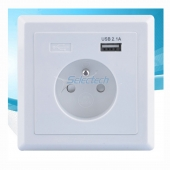 China USB-21 Schuko socket 80*80 type French socket Wall plate Single ports USB Charger factory