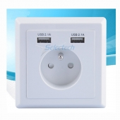 China USB-21B Schuko socket 80*80 type French socket Wall plate Dual ports USB Charger factory