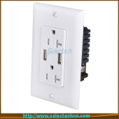 China USB-30/31-A/A High Speed universal wall socket Dual USB Charger Outlet Receptacle USA electrical receptacle types with TR 15A factory