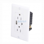 China USB-30 universal wall panel USB A and Type C socket Charger receptacle with USA electrical outlet factory