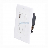 China USB-32 Wall Plate USB Charger Type-A and Type-C Receptacle with TR 15A outlet,China smart USB Wall Charger supplier factory