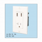 China The Best Wall Outlets With USB Charging Ports,USB-33 USA style wall plate dual USB Wall Outlet Charger with TR outlet factory