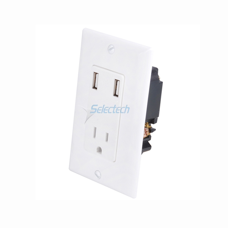 Wall Socket Dual Usb Port Outlets Panel